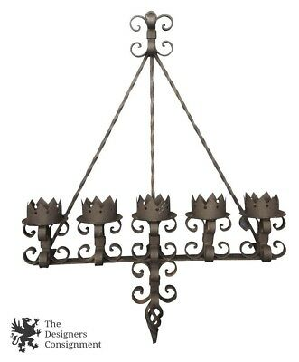"Spanish Revival Brutalist 41"" Iron Gothic Wall Sconce 5 Light Candle Candelabra"