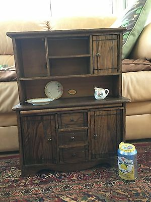 Child's Antique Oak Hoosier Cabinet Hutch with Bread Board from Cass Toys