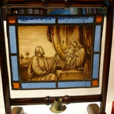 19thC Painted Stained Glass RELIGIOUS Panel with CANDLE HOLDER Back Frame #3