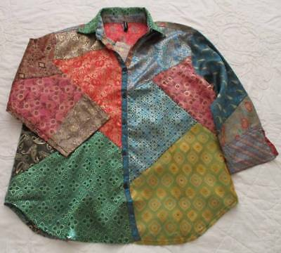 Sacred Threads Blouse Top XL Jacquard Satin Patch Ethnic Art2Wear Bust 46""