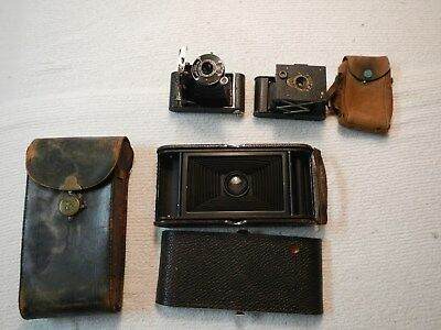 Vtg Kodak Folding Camera Lot No.3-A Model C, Vest Pocket Model B & No. A-127