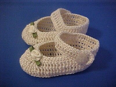 Crochet Handmade Baby Girl Doll Booties Shoes Antique White Mj