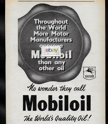Mobil Socony-Vacuum Oil Co 1951 Mobilgas Worlds Quality Oil Australia Ad