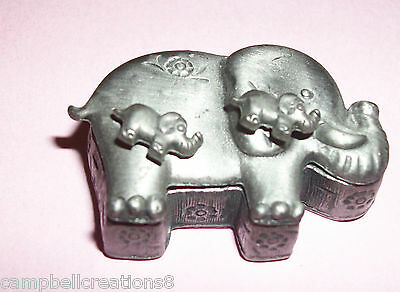 pewter elephant jewelry pill box pin earrings necklace set