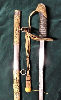 Antique Horstmann Lions Head Cavalry Sword Knights of Pythias Etched/Named