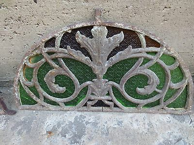 UNIQUE Antique Stained GREEN BROWN Glass Half Circle Window (B) Cast Iron Frame