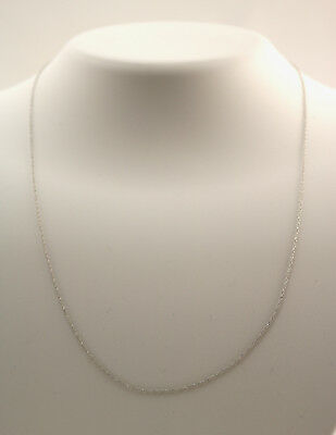 New 14K White Gold .8 mm 18 Inch Rope Pendant Chain Necklace