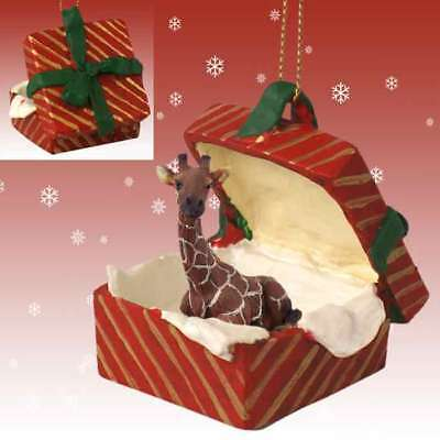 Giraffe RED Gift Box Holiday Christmas ORNAMENT