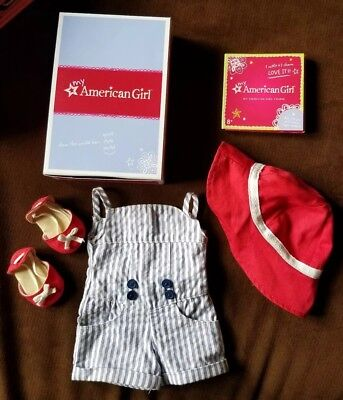 American Girl Doll Sea Breeze Outfit My AG Hat Romper Shorts Shoes Charm