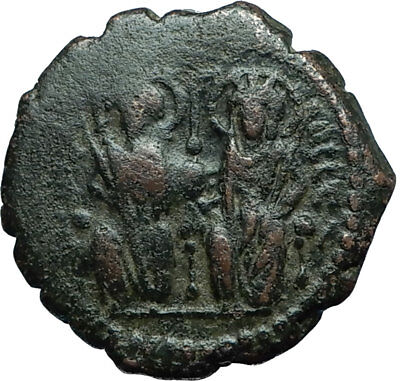 JUSTIN II & Sophia 565AD Half Follis Antioch Ancient Byzantine Coin CROSS i66251