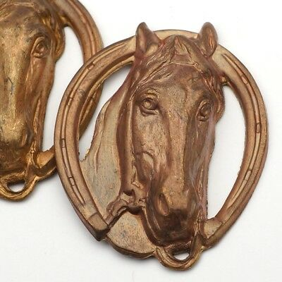 2 vintage brass stampings large horse heads with horseshoes dark patina 41mm