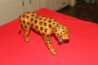 """LARGE CAT STATUE LEATHER APPX. 14"""" x 4"""" x 7""""   (TIGER ???)"""
