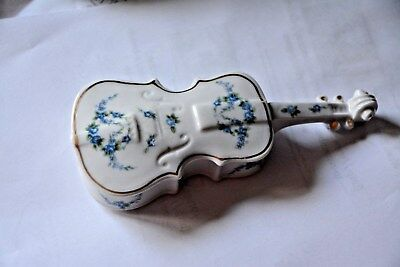 Andrea Sadek porcelain Cello violin/ Blue florals & gold accents candy dish