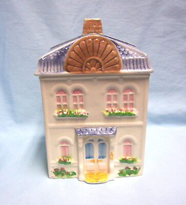 "Avon Townhouse Canister Collection Cookie Jar Ceramic ""L"" Hand Painted Brazil"