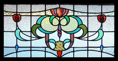 Antique Victorian Stained Glass Window RED ROSES U.K.