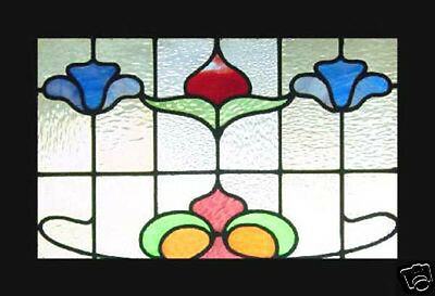 Antique Stained Glass Window Victorian SPRING FLOWER