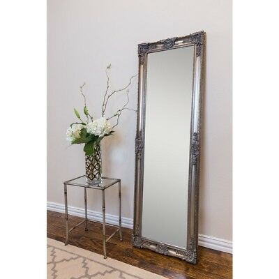 Floor Mirror Beveled Glass Edge Solid Wood Frame Deep Molding Antique Silver