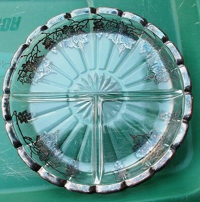 Vintage Pressed Glass Divided Dish w/Silver Overlay Trim & Silver Grapevines