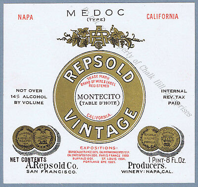 Rare  A.REPSOLD & Co GOLD Napa Valley pre-prohibition MEDOC wine label 2164