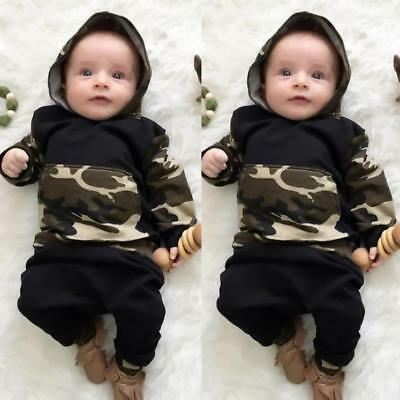 Newborn Toddler Infant Baby Boy Clothes Hooded Tops+Pants Outfits 2pcs Set Hot