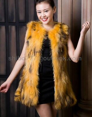 100% Real Genuine Fox Fur Vest Waistcoat Gilet Ladies Jacket Coat fashion 5Color