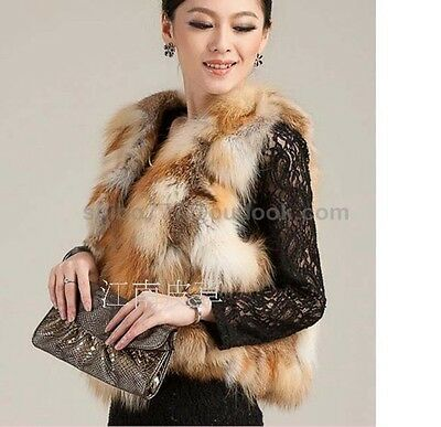 100% Real Genuine Fox Fur Vest Waistcoat Gilet Ladies Jacket Coat fashion Warm