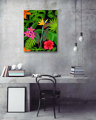 Modern Art Poster-Tropical Leaf Colored Flower Prints Room Decor Canvas Painting