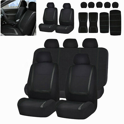 Full Set Car Seat Covers Polyester Fit For Auto Truck Van SUV 5 Heads Black