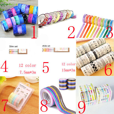 5/6/10/12 PCS/SET Washi Tape Book Decor Scrapbooking Adhesive Paper Stickers