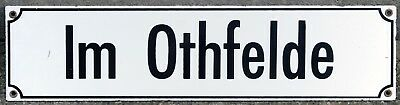 Old German enamel steel street sign road plaque plate name Im Othfelde Hanover