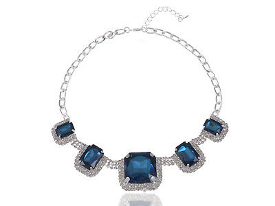 Silver  Royal hotWhite Rhines Square Blue Bead Fashion Necklace Ali