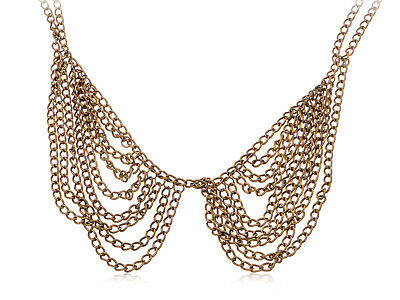 Collar form Chain Necklace Accented With A Unique Hammered Brass hotFinis Ali