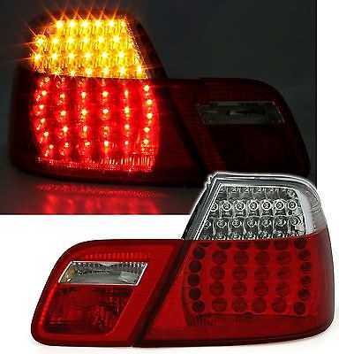For BMW 3 Series E46 Convertible 1998-2003 Red & Clear LED Rear Tail Lights Pair
