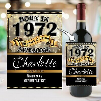 Personalised BORN IN ANY YEAR Birthday Wine Champagne Bottle Label N155