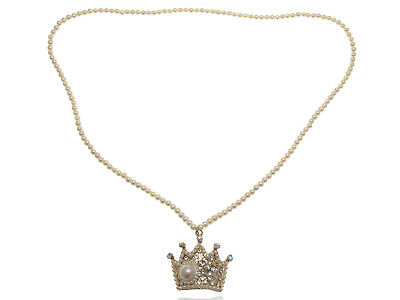 Faux Pearl Bead Strand Byzantine King Crown Rhinestone Pendant Necklace Ali