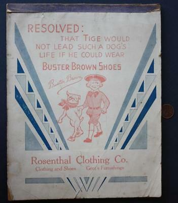 1910-20s Era Buster Brown & Tige the dog shoe store school notepad-Rosenthal Co.