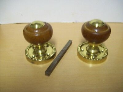 Vintage  Pair Of Reclaimed ,brown,  Hard Wood Brass  Door Knobs  Good Condition