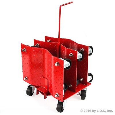 "(4) Auto Dolly Car Wheel Tire 12""x16"" Skate 6000lb  Slide New Red Rolling Rack"
