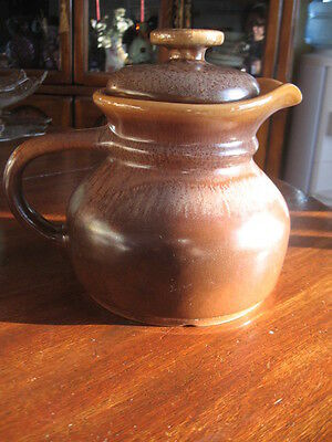 """Brown & Caramel Pitcher Beauce Canada Pottery 7.5"""" In Tall"""