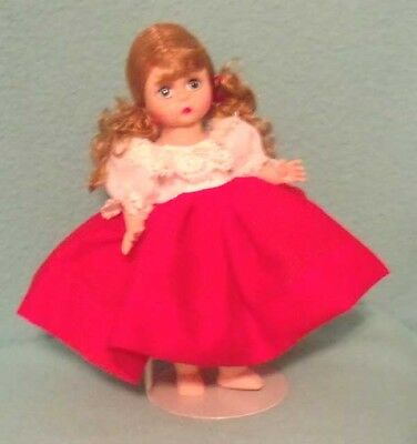 "Vintage Madame Alexander Dress in Red/White with Crochet Collar for 7-8"" Doll"
