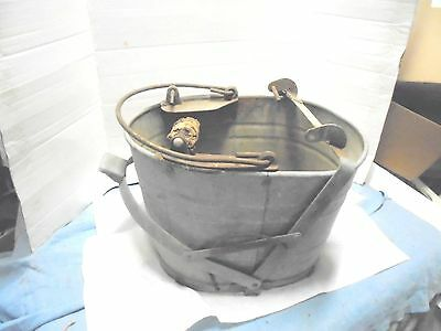 vintage galvanized metal mop bucket white primitive flower garden decor rough