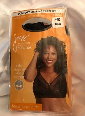 bef10c7d07f JUST MY SIZE by HANES BLACK 44 DD WIRE FREE SEXY BRA COMFORT SHAPING  BEAUTIFUL