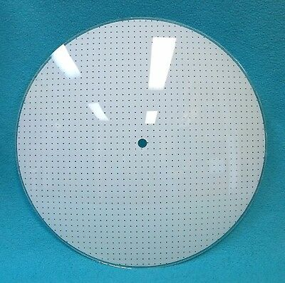 """Vintage POLKA DOT GLASS Circular Ceiling Light Cover~12""""~White~MCM Round Shade"""