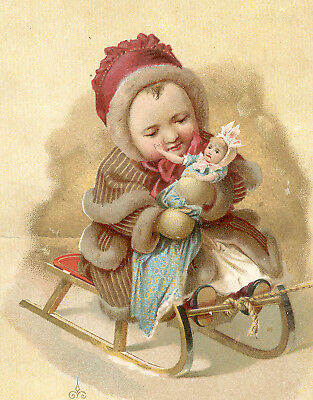 1880s McLAUGHLIN & CO TRADE CARD, CHRISTMAS BABY on a  SLED with her DOLL TC2497