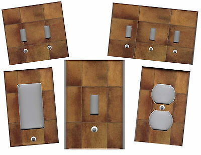 Brown Ceramic Tile Print Home Decor Light Switch Plates Or Outlets
