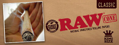 RAW Classic King Size Authentic Pre-Rolled Cones with Filter~60 Pack~With Case