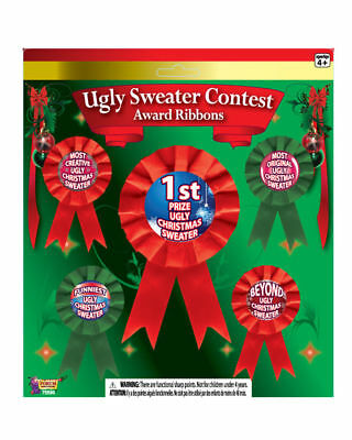 Ugly Christmas Sweater Contest Award Prize Ribbon Set of 5 Costume Trophy Party