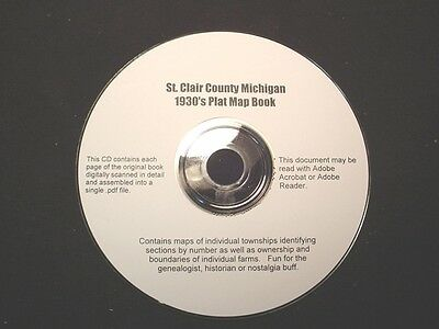 CD ~ 1930's St. Clair County Michigan (Port Huron area) Plat Map Atlas