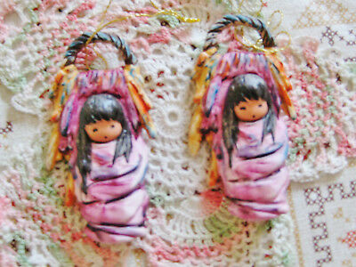 Pair 2 Lot Of Vintage Goebel De Grazia Papoose Native American Ornaments Nos '88
