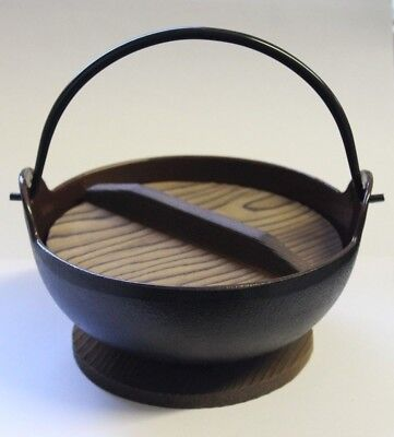 Cast Iron Japanese Noodle bowl with Wooden Lid and Base